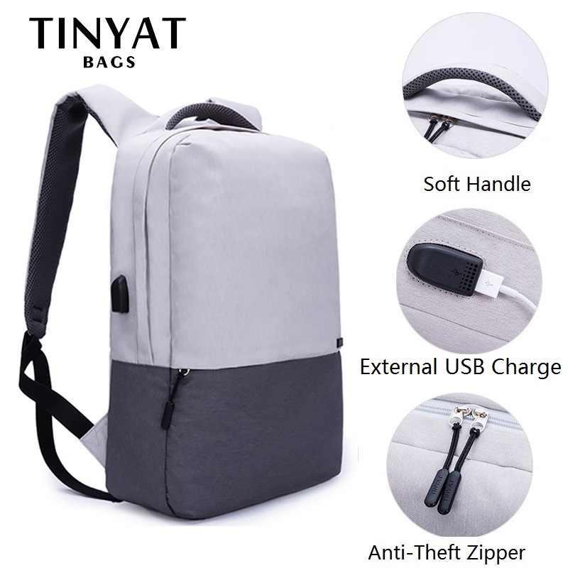 TINYAT erkekler Laptop sırt çantası 15.6 inç USB şarj sırt çantaları bilgisayar anti-hırsızlık çanta okul sırt çantası çantası seyahat kadın Mochila