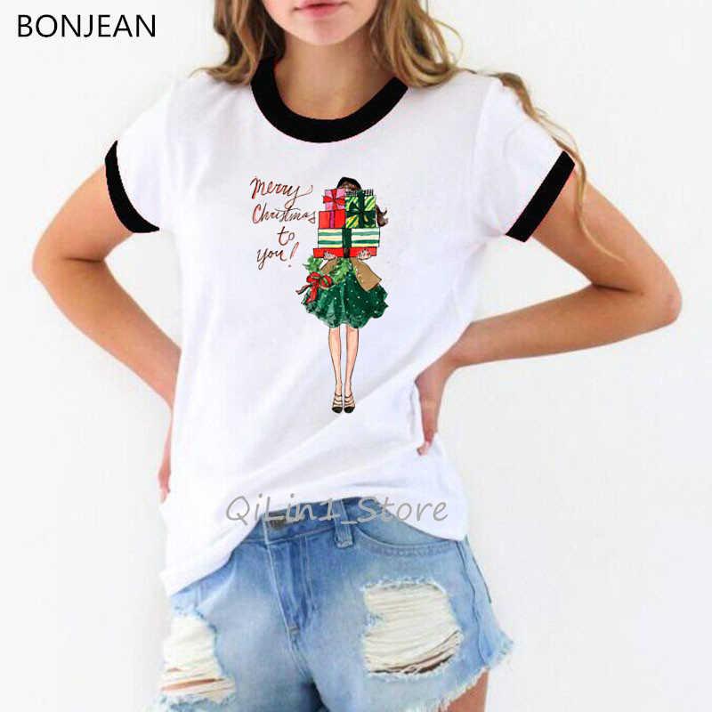 Vogue Merry Christmas t delle donne della camicia migliori amici magliette Harajuku kawaii vestiti 90s personalizzato t-shirt streetwear camisas mujer top