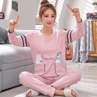 Pajamas Women Long Sleeve Autumn Cotton Korean Can Outer Wear Cartoon Spring and Winter Summer Two Piece Suit Home Services