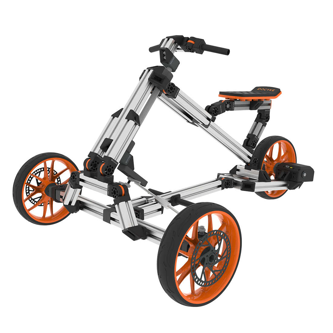 Docyke DIY Creative Constructible Rides 10-in-1 Electric Bicycle Go Kart Balance Scooter with Aluminium Multi-mode Frame for Kid