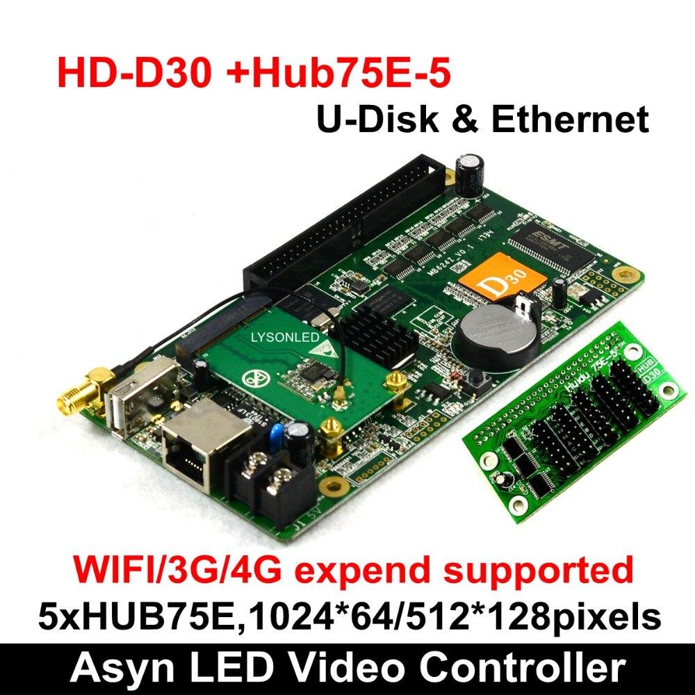Huidu HD-D35 +WIFI +HUB75E-5 RGB LED Video Card 512*128 Pixels,Smart Setting Compatiable With P2 P2.5 P3 P4 P5 P8 P10 LED Module