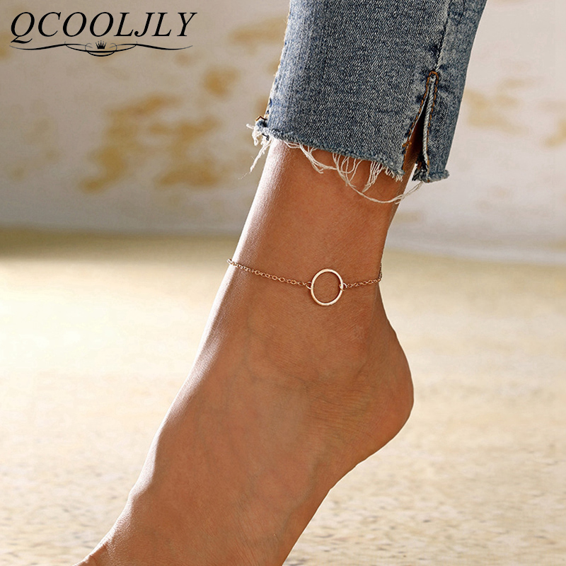 QCOOLJLY Big Circle Geometric Anklets For Women Foot Accessories Summer Beach Barefoot Sandals Bracelet Ankle on the leg Female