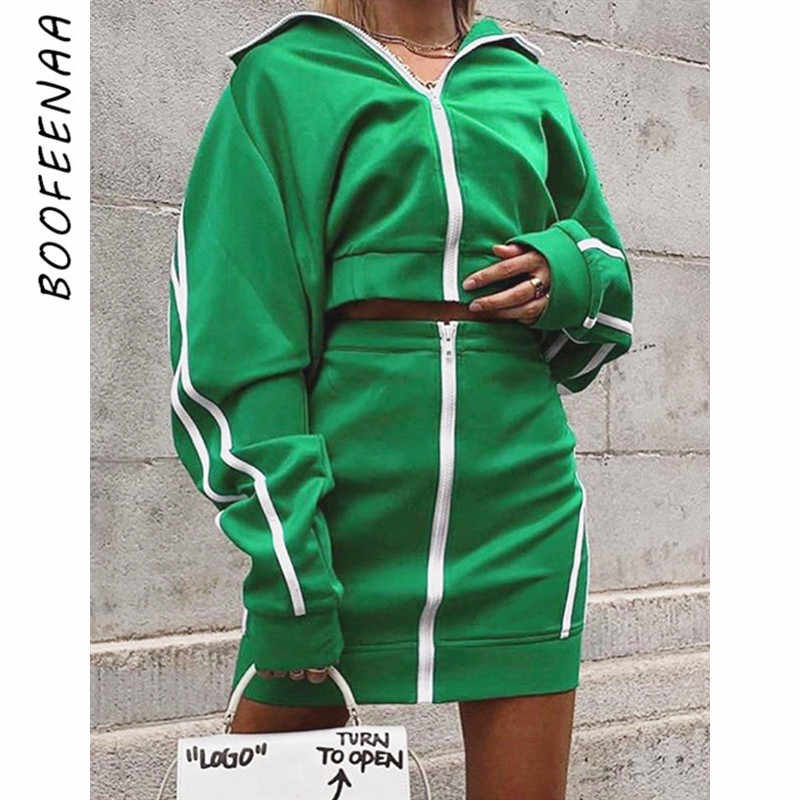 00cc8c849077e BOOFEENAA Sexy Casual Two Piece Set Zip Striped Jacket Skirt Streetwear  Tracksuit Women Clothes Fall Winter 2019 C66-BB66