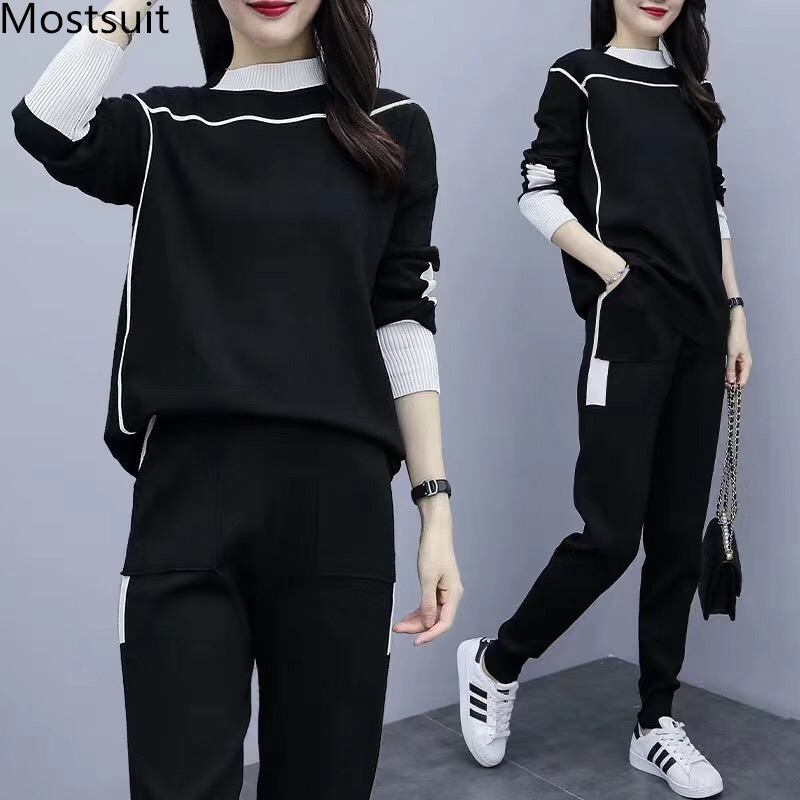 2019 Autumn Black Knitted Two Piece Sets Outfits Women Plus Size Long Sleeve Tops And Pants Suits Casual Fashion Korean Sets 21