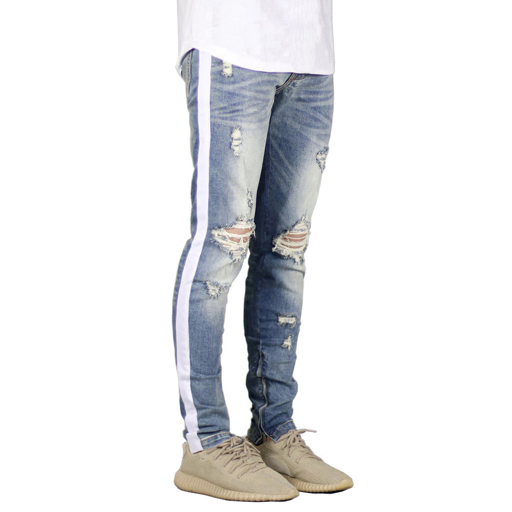 Dropshipping 2020 New Brand Quality 100 Cotton Jeans Pants Men Fashion Side Striped Hole Sknny Jeans Men Casual Clothing