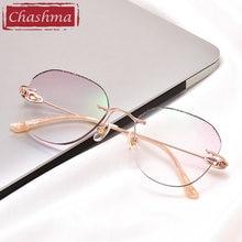 Женские солнцезащитные очки с бриллиантами без оправы титановые