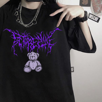 2020 Harajuku cartoon gothic print short sleeve Bear T-shirt women tops Summer streetwear O-neck sweet girls tee shirt 1