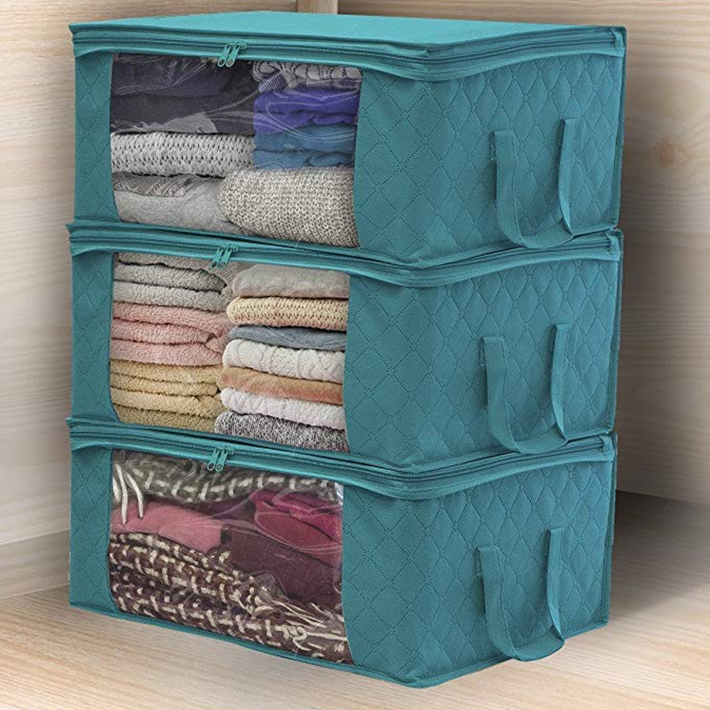 1PCs Quilt Clothes Bag Non Woven Fabric Storage Box With Handles Folding Moisture-proof Sealed Storage Box Clear Organizer