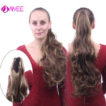 AIYEE прямые длинные волосы для наращивания на заколках, блонд, черный, хвост Маленького Пони, 24 дюйма, 180 г, высокотемпературные синтетические волосы на заколках