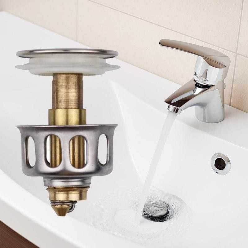 Universal Wash Basin Bounce Drain Filter Up Bathroom Drain Plug Drainer HOT