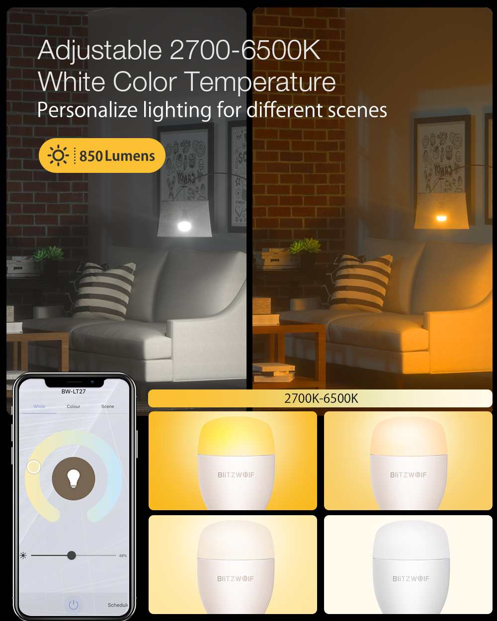 cw 9w e27 app inteligente led lâmpada