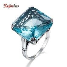 Szjinao aigue marine bague en argent 925 pour les femmes réel 925 en argent Sterling Vintage anneaux grand gemme pierre bleue Fine bijoux de noël