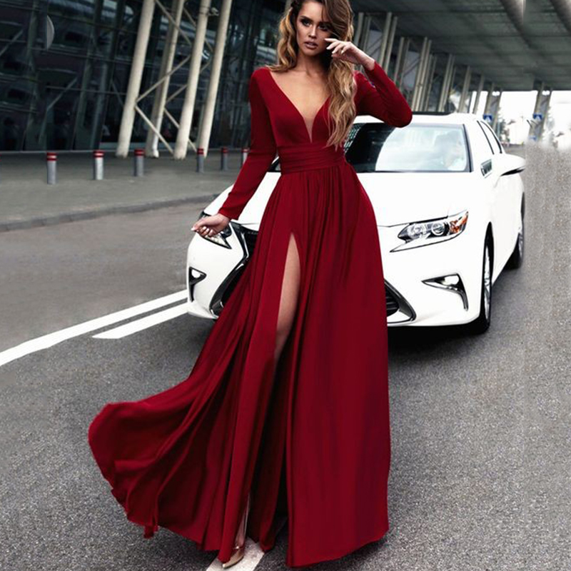 2018 Sexy Deep V-neck A-line Bridesmaid Dresses Dark Red Side Split African Bridal Prom Dress Party Gowns Maid Of Honor Dress