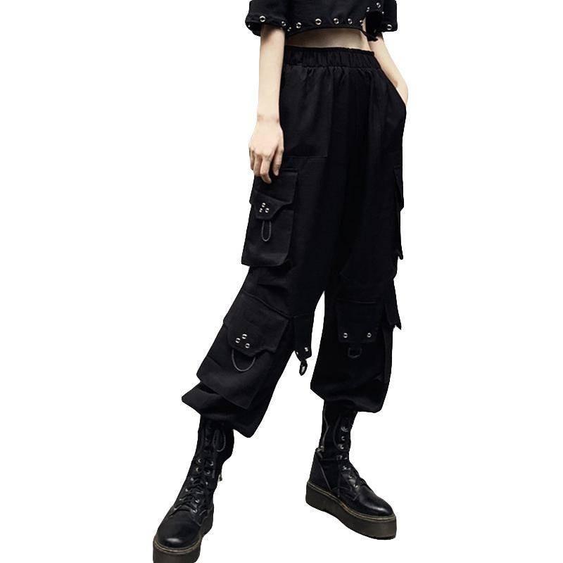 Pantalones Negro De Las Mujeres Pantalones Slim Divertidas Senoras Pantalones Militares Liso Elastico Cintura De Moda Casual Punk Pantalon De Hip Hop Mujer Pantalones Y Pantalones Capri Aliexpress