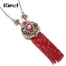 Kinel de lujo de piedra Natural collar con colgante de borla larga para las mujeres de Color de oro Vintage de cristal rojo étnico, joyería nupcial