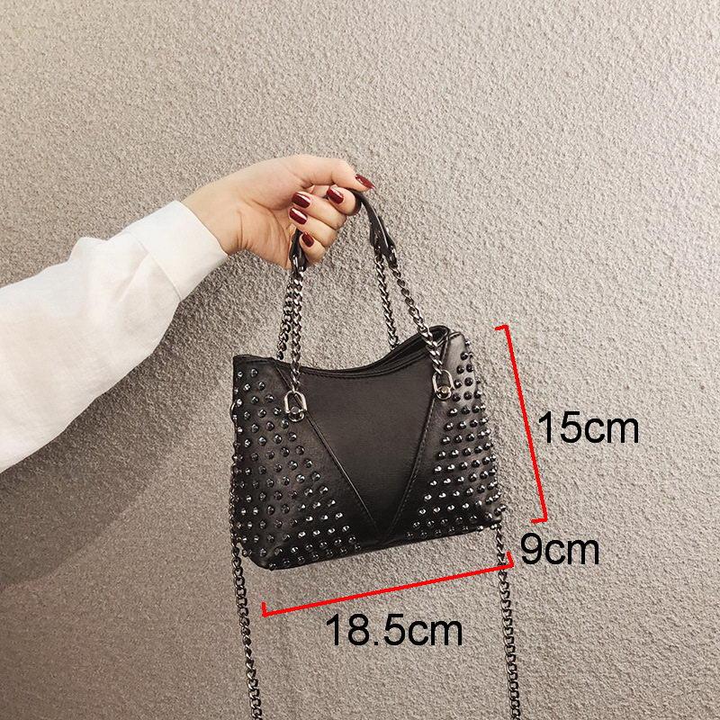 Image 5 - DIINOVIVO Rock Rivet Shoulder Bag Female Small Bags For Women Handbags Punk Handbag Leather Women Messenger Bags Purses WHDV1214Shoulder Bags   -