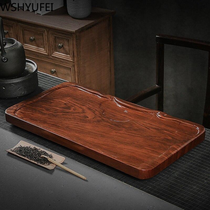 WSHYUFEI doğal katı ahşap çay tepsisi büyük ofis ev çay masası drenaj masa tepsileri çin çay odası töreni araçları