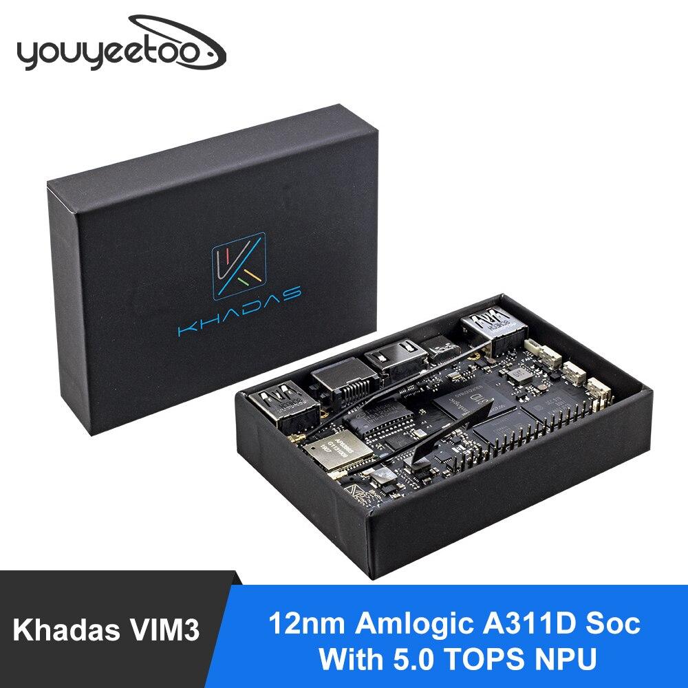 Khadas VIM3 ordinateur à carte unique Amlogic A311D avec 5.0 hauts NPU AI tensorflow x4 Cortex-A73 x2 A53 cœurs SBC android linux