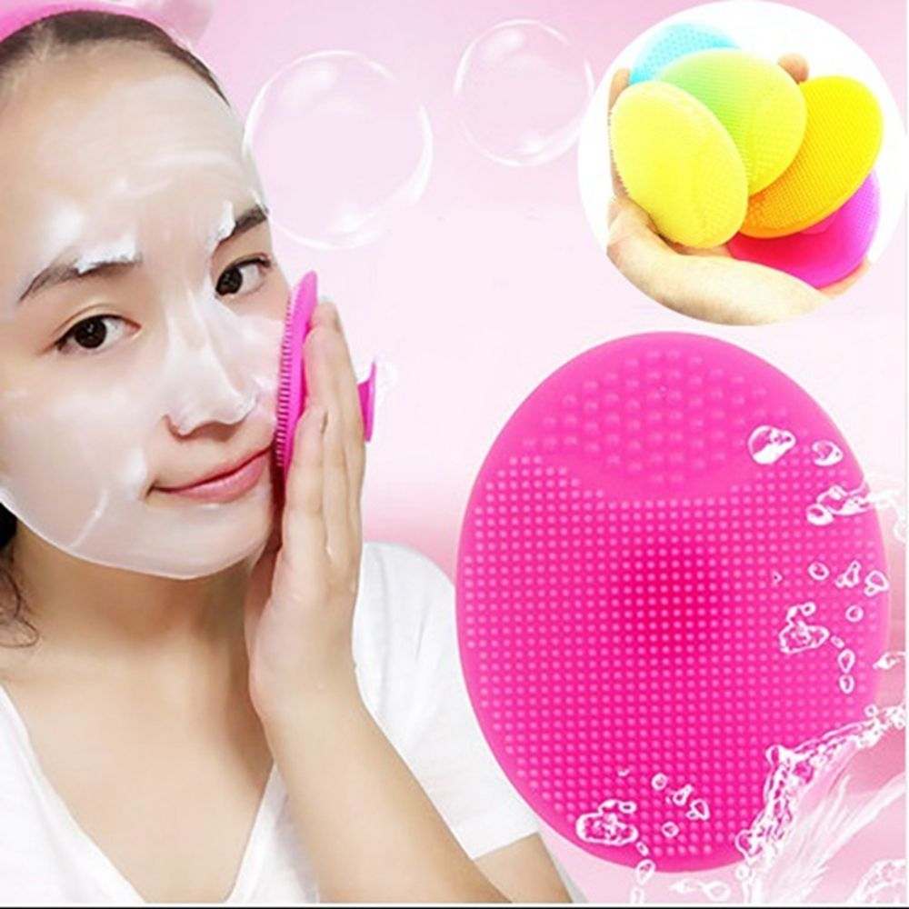 Soft Silicone Facial Cleansing Brush Face Washing Exfoliating Blackhead Brush Remover Skin SPA Oval Scrub Pad Tool