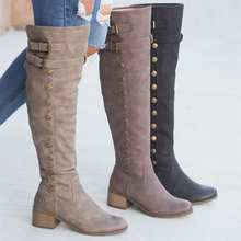 Women Winter Shoes Genuine Leather Boots Warmful High Quality Knee Side Zipper Motorcycle Button Boot