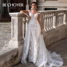 Fashion Detachable Train Wedding Dress BECHOYER K149 Appliques Lace 3D Flowers Mermaid Illusion Bride Gown Vestido de Noiva