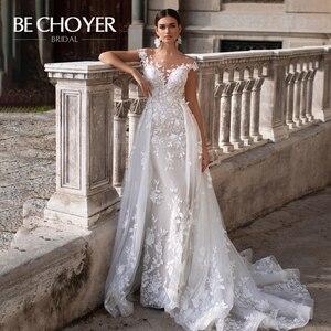 Image 1 - Mode Abnehmbare Zug Hochzeit Kleid BECHOYER K149 Appliques Spitze 3D Blumen Meerjungfrau Illusion Braut Kleid Vestido de Noiva
