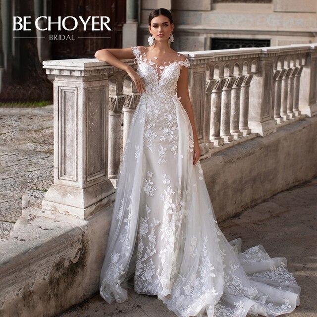Mode Abnehmbare Zug Hochzeit Kleid BECHOYER K149 Appliques Spitze 3D Blumen Meerjungfrau Illusion Braut Kleid Vestido de Noiva