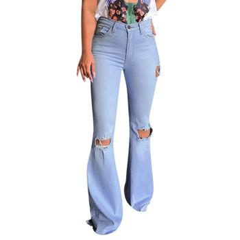 Dżinsy damskie dżinsy z wysokim stanem z dziurami spodnie guzikowe spodnie spodnie z dzianiny spodnie jeansowe damskie dżinsy rurki kobieta # YL10 tanie i dobre opinie ISHOWTIENDA Poliester Pełnej długości Pants Wysoka Przycisk fly Otwór Na co dzień Zmiękczania Spodnie pochodni REGULAR
