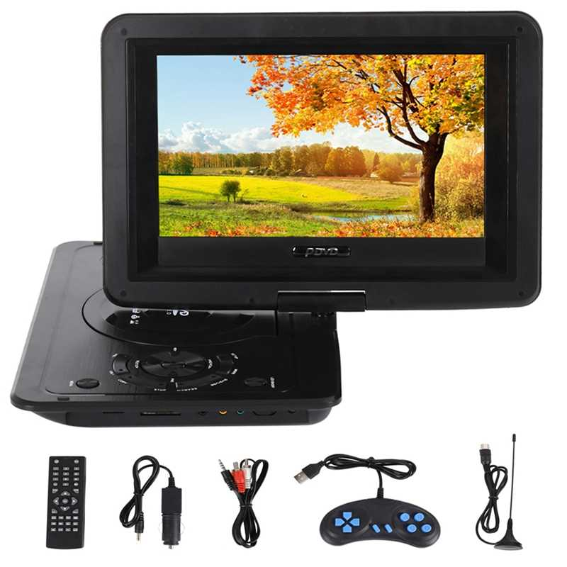 Portable Mini Dvd Player 13.9Inch Hd Tv Movies Lcd Mobile Swivel Usb Screen Rotation for Car Multi Media Video Game Play(Eu Pl