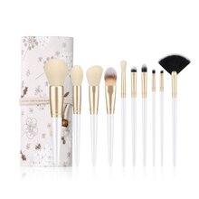 10pcs Makeup Brushes Set White Blush Foundation Eyeshadow Eyeliner Lip Face Powder Contour Makeup Cosmetic Brush Kit недорого