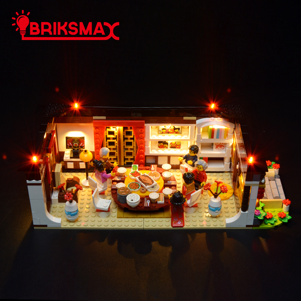 BriksMax Led Light Kit For Chinese New Year's Eve Dinner Building Blocks Model Lighting Set Compatible With 80101