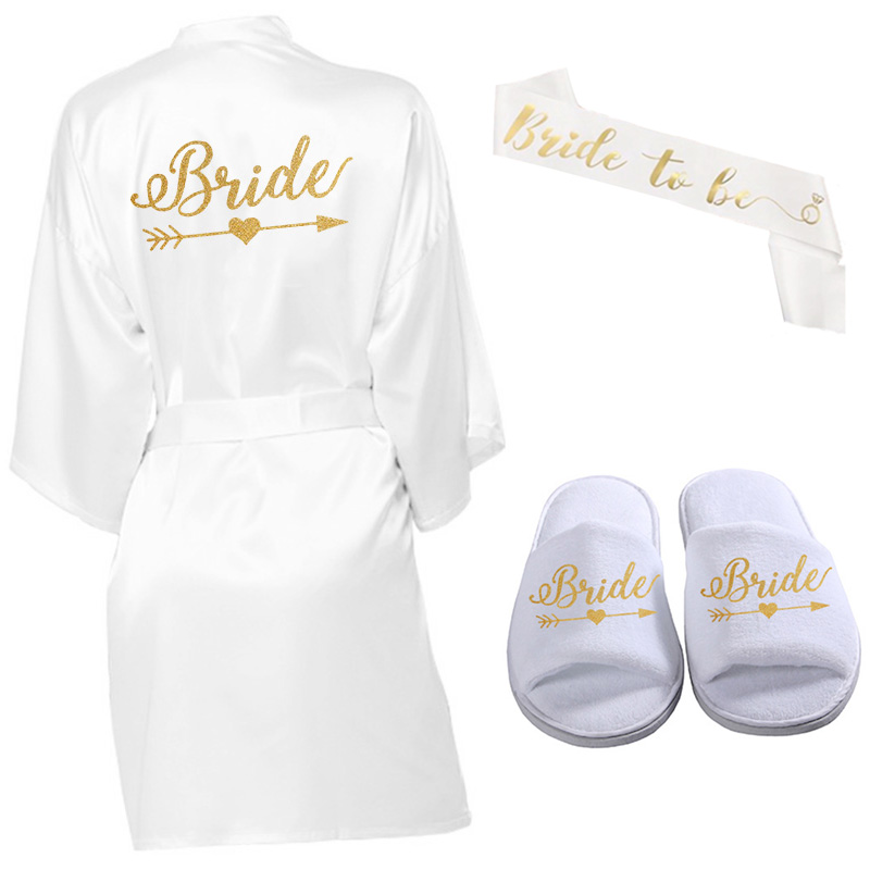 3pc Set Of Glitter Gold Bride Satin Short Bride Robe Wreath Slippers Bridal Sash Peignoir Women Bridal Party 2020 Kimono Robe