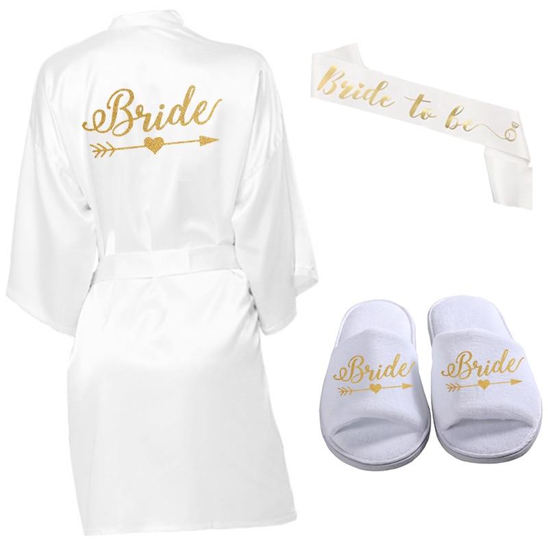 3pc Set Of Glitter Gold Bride Satin Short Bride Robe Wreath Slippers Bridal Sash Peignoir Women Bridal Party 2020 Kimono Robe
