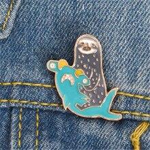 Милый Ленивец дельфины животное металлический значок лацкан куртка булавка для джинсов Декоративные ювелирные изделия украшения аксессуары детские подарки