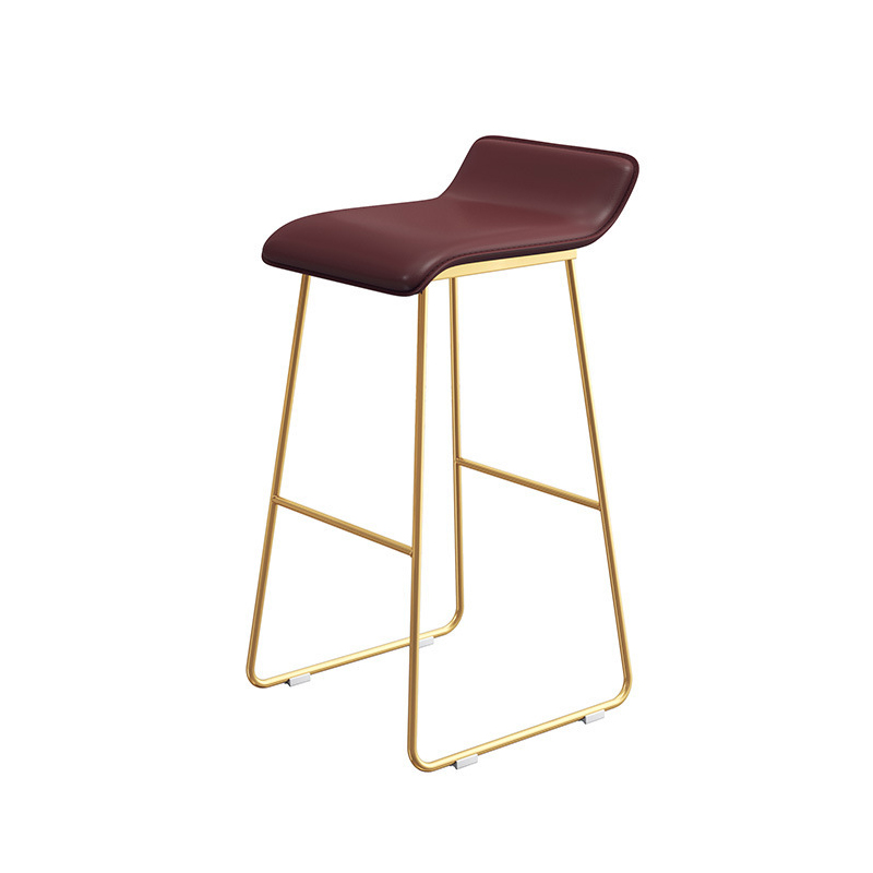 M8 Nordic Bar Stool Casual Home Simple Creative Wrought Iron  Chair Modern Minimalist Front Desk Red Coffee High