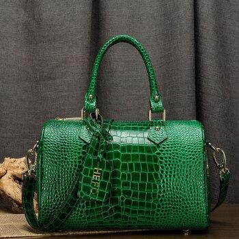 3 Size Crocodile Portable Boston Bags High Quality Genuine Leather Handbags Luxury Fashion Shoulder Messenger Bags