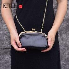 Aetoo Clip Pocket Retro Eenvoudige Clip Gold Bag Mini Lederen Hand Schoudertas Diagonaal Bag Packet Vrouwelijke