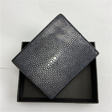 Bifold Wallet Genuine-Stingray-Sand-Dot Purse Card-Holders Black Clutch Small Men's Skin