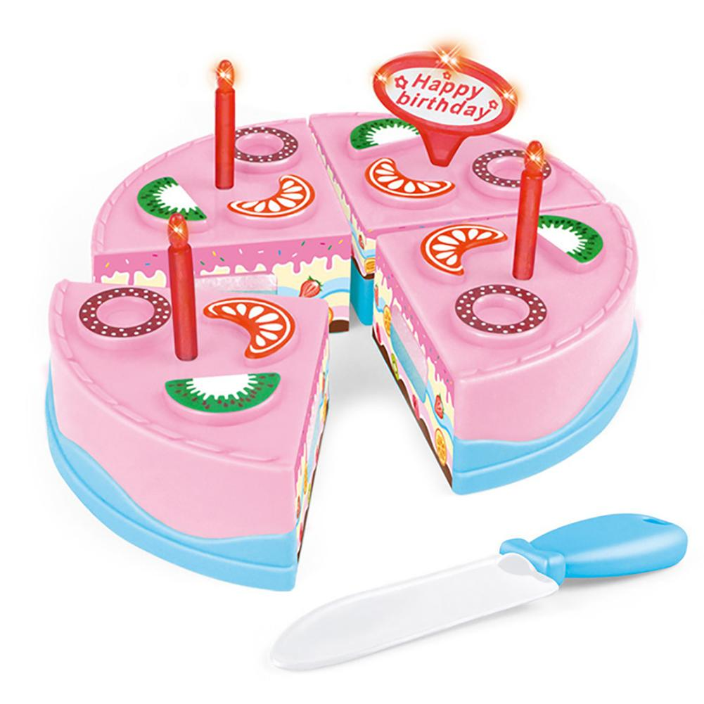 Simulation Birthday Cake Cutting Pretend Play Kitchen Food Education Kids Toy train the kid's ability improve development brain image