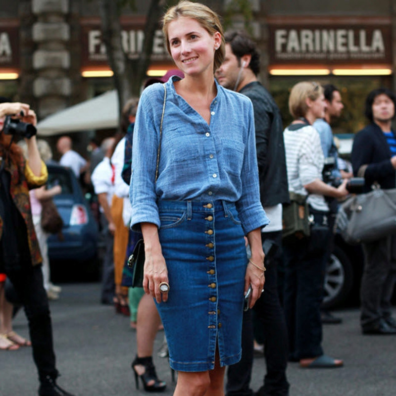 Women Blue Solid Casual High Waist Pencil Denim Skirts High Street Pockets Button Midi Skirt All-matched Knee-Length Jeans Skirt