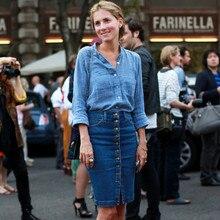 все цены на Women Blue Solid Casual High Waist Pencil Denim Skirts High Street Pockets Button midi skirt All-matched Knee-Length Jeans Skirt онлайн