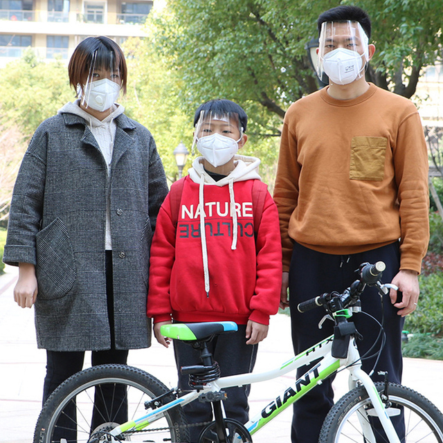 Full Face Shield Covering Mask Transparent Anti Droplet Saliva Dust-proof Protection Anti-fog Visor 5