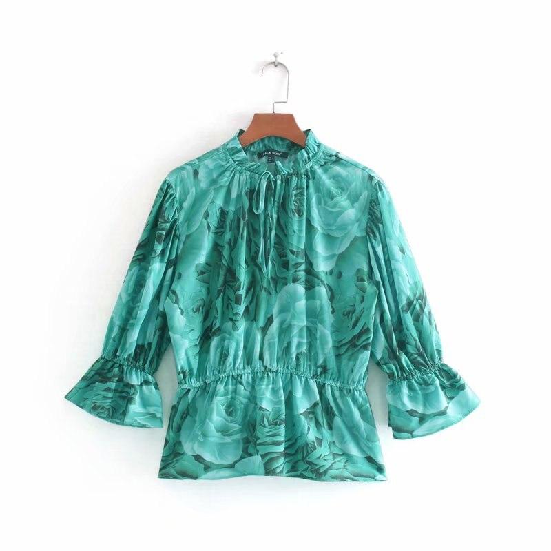 2019 mulheres gola de babados impressão casual slim camisas blusas mulheres roupas retro cintura elástica ruffles kimono blusas tops LS4143