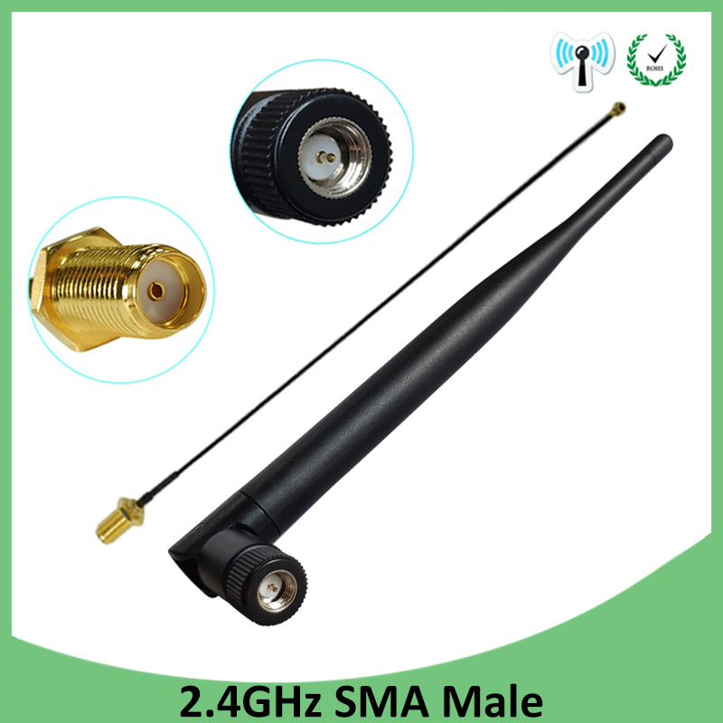 2pcs 2.4 GHz Antenna Wifi 5dBi SMA Male  2.4ghz Antena For Router Wi Fi Booster +21cm RP-SMA To Ufl./ IPX 1.13 Pigtail Cable