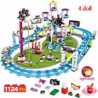 Bricks Compatible With Lepining Friends Amusement Park Blocks Roller Coaster Figure Model Toys Hobbie Children Girls