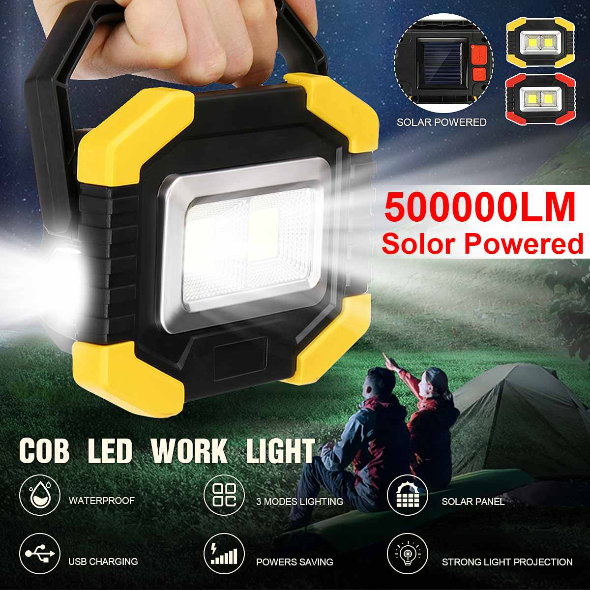 500000LM 350W Solar/Battery Powered  COB LED Floodlight Portable Spotlight Work SpotLight Can As A Power Bank Charging For Phone