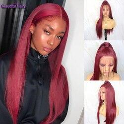 Beau journal longue droite avant de lacet perruques couleur rouge perruque sans colle résistant à la chaleur fibre cheveux Futura synthétique avant de lacet perruques