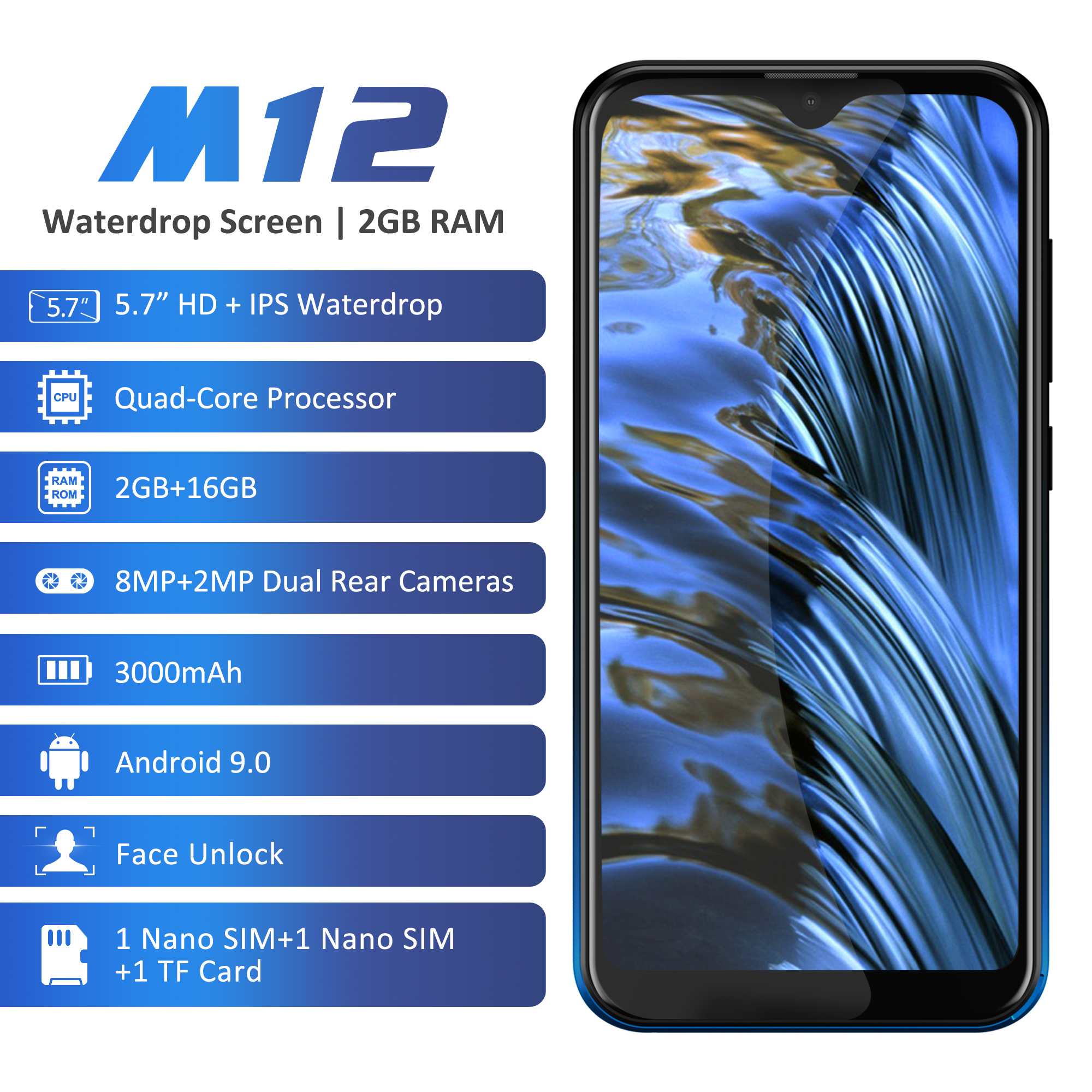 Image 5 - Leagoo M12 Android 9 MT6739ww Quad Core 2GB RAM 16GB ROM 5.7Inch 