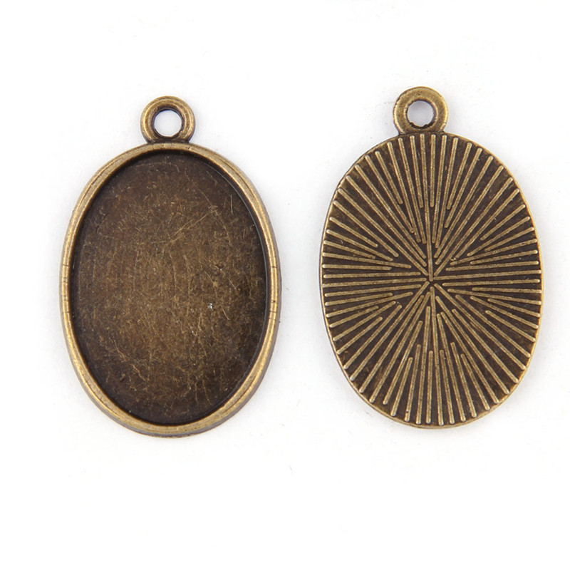 10pcs Vintage Bronze Alloy Round Tray Base Pendant Charms Jewelry Accessories