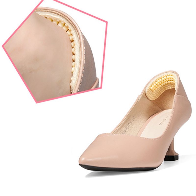 1Pair Fashion Massage Silicone Inserts Soft Sticky Silica Gel Fabric Shoe Pads Liner Grips Back Heel Inserts Insoles